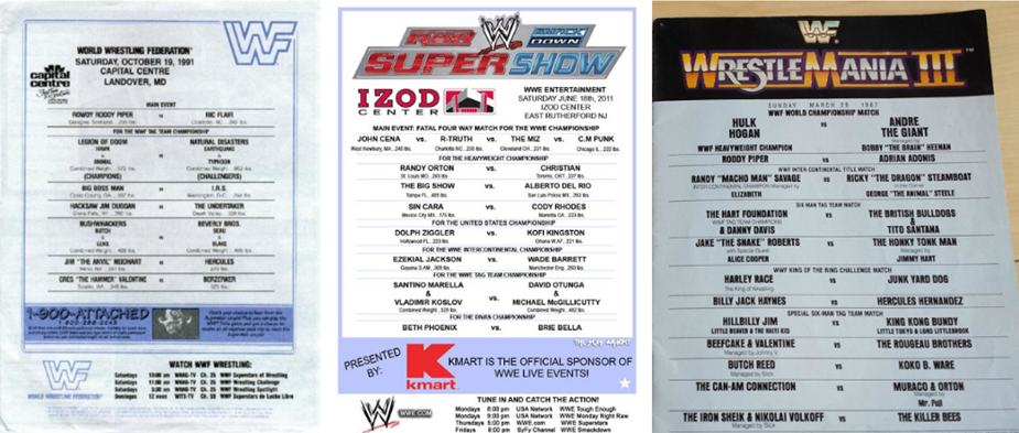 Chairshot WWE WWF Old School Event Lineup Cards