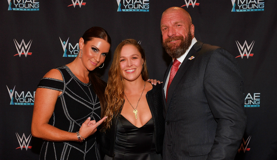 Ronda Rousey with HHH and Steph